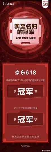 荣耀9青春版成爆款担当,助力荣耀手机收割618销量双冠