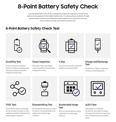 拒绝隐患!三星公布电池安全检查8项标准